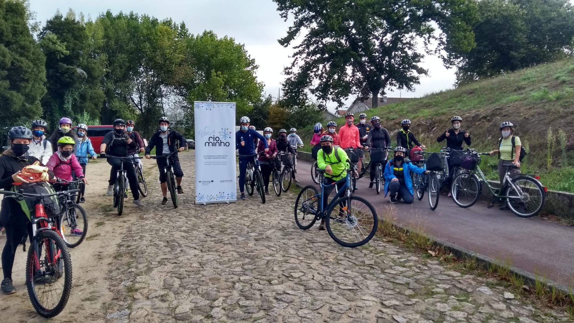 Percorrido en bici pola ecovía do Miño entre Valença e Vila Nova de Cerveira